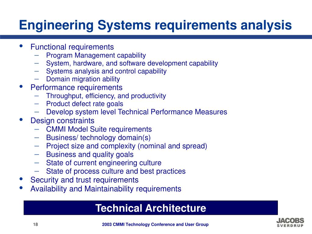 Engineering Systems requirements analysis