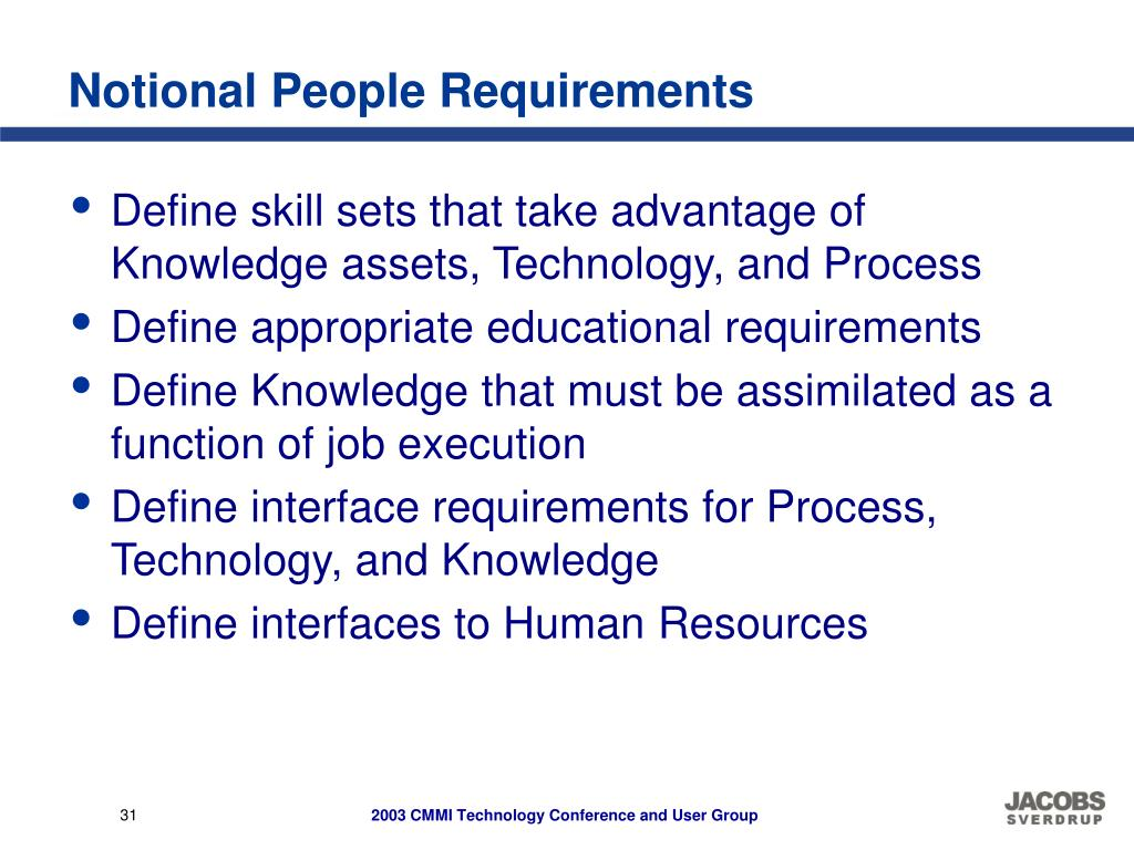 Notional People Requirements