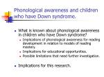 phonological awareness and children who have down syndrome