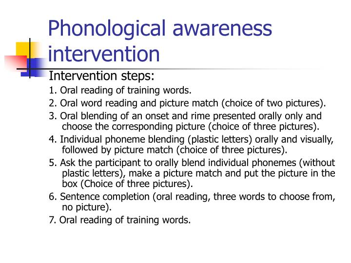 Phonological awareness intervention