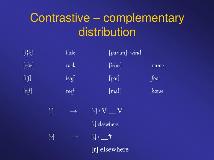 Contrastive – complementary distribution