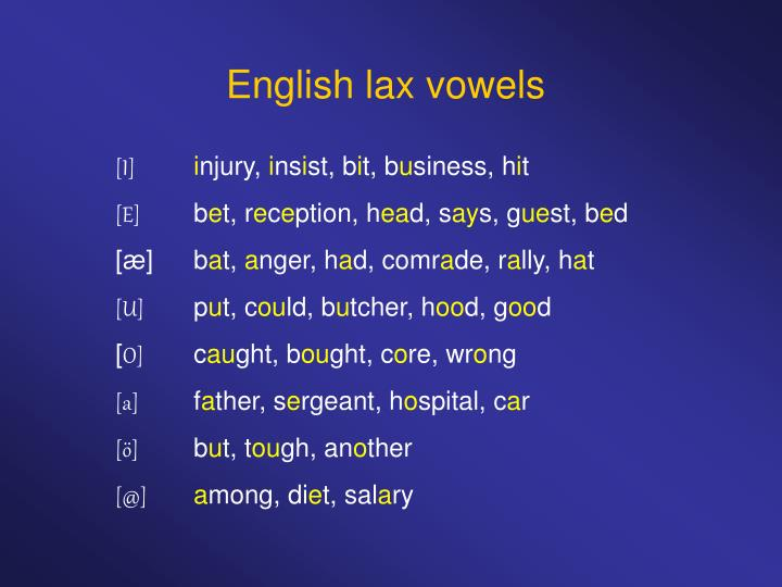 English lax vowels