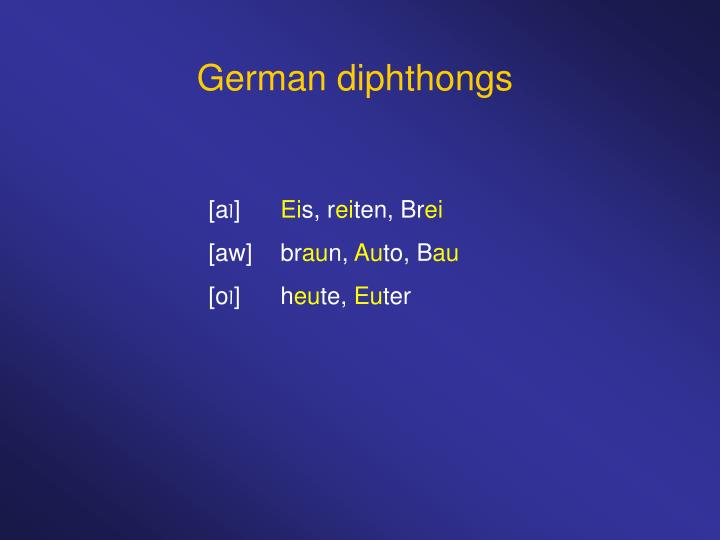German diphthongs