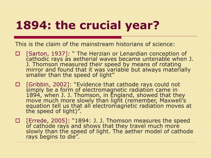 1894: the crucial year?