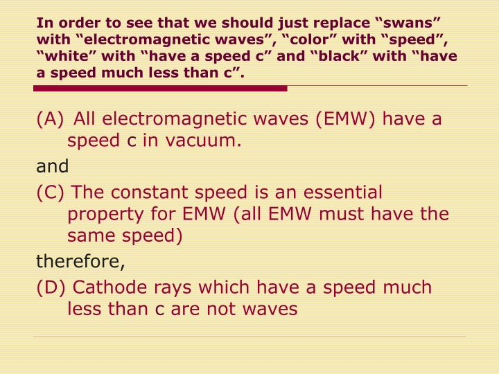 "In order to see that we should just replace ""swans"" with ""electromagnetic waves"", ""color"" with ""speed"", ""white"" with ""have a speed c"" and ""black"" with ""have a speed much less than c""."