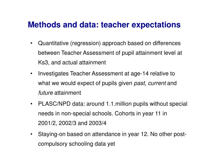 Methods and data: teacher expectations