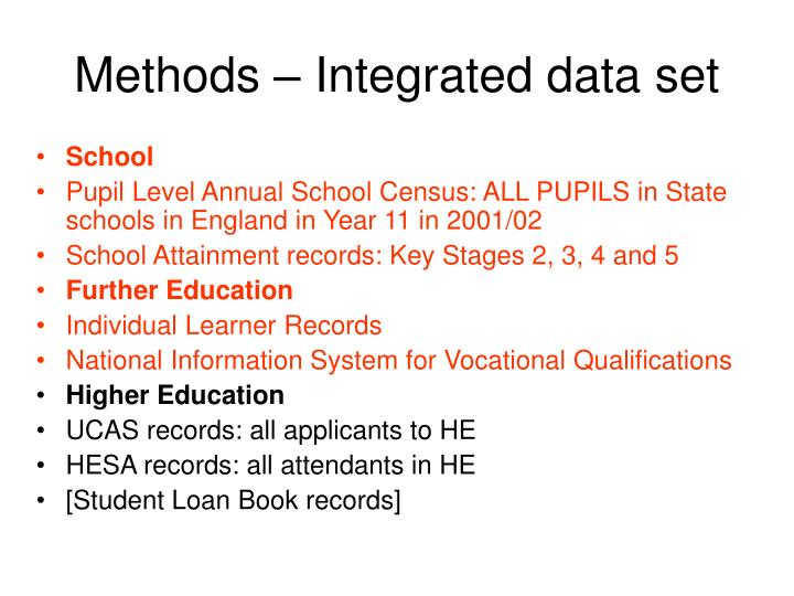 Methods – Integrated data set