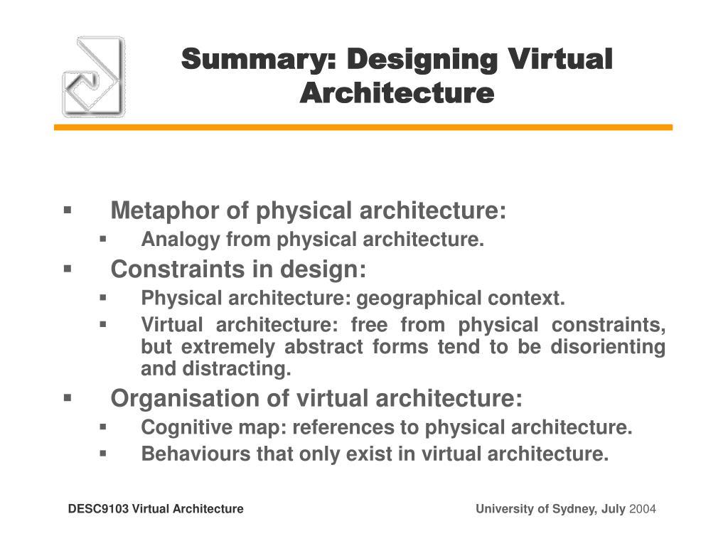 Summary: Designing Virtual Architecture