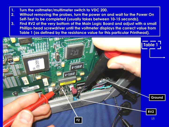 Turn the voltmeter/multimeter switch to VDC 200.