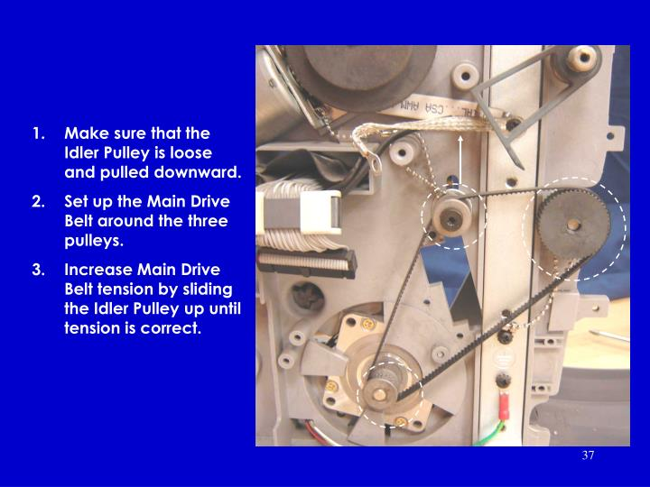 Make sure that the Idler Pulley is loose and pulled downward.