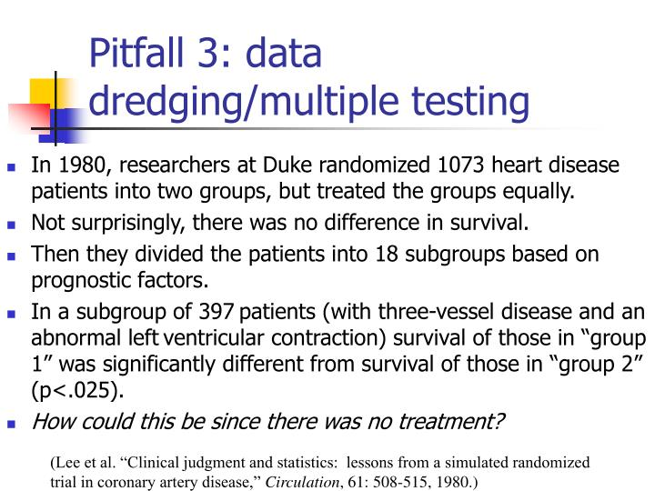 Pitfall 3: data dredging/multiple testing