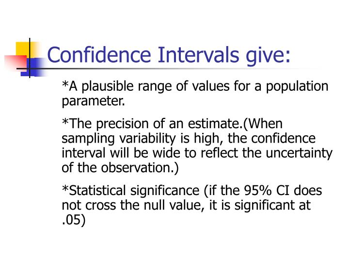 Confidence Intervals give: