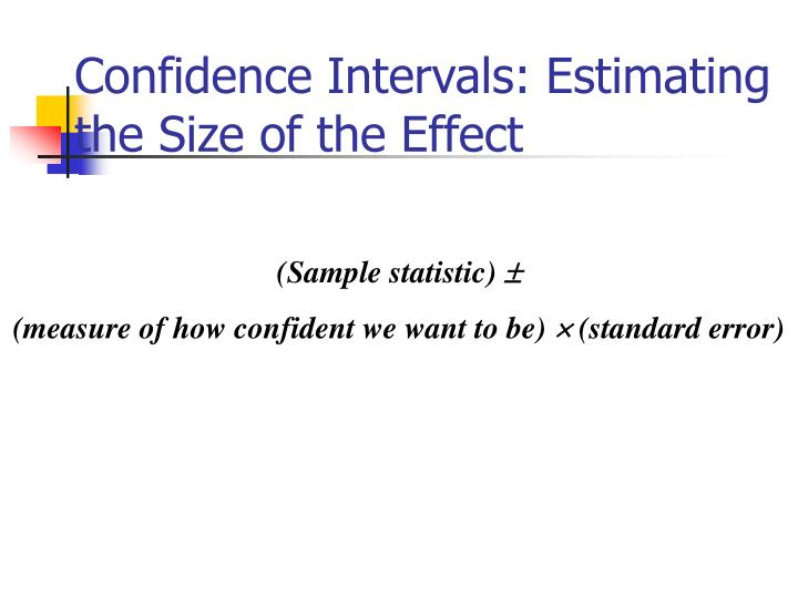 Confidence Intervals: Estimating the Size of the Effect