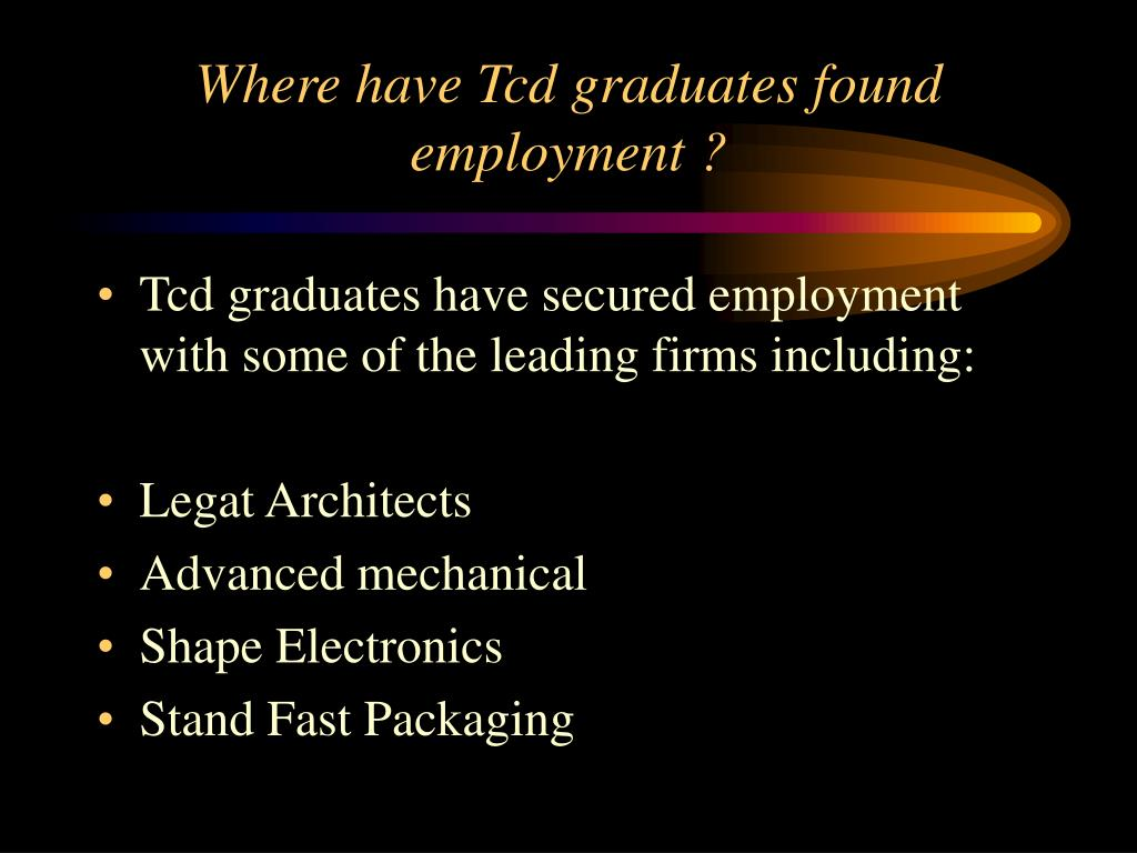 Where have Tcd graduates found employment ?