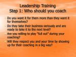 leadership training step 1 who should you coach