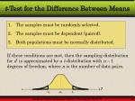 t test for the difference between means1
