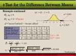 t test for the difference between means8