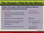 two sample t test for the means