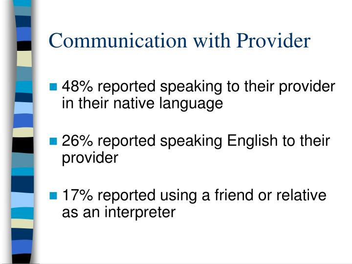Communication with Provider