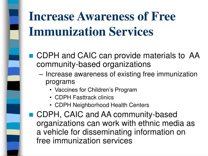 Increase Awareness of Free Immunization Services