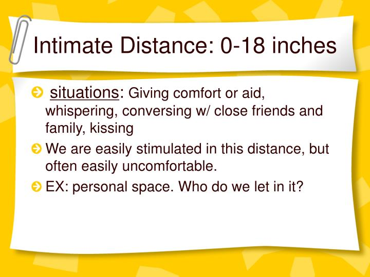 Intimate Distance: 0-18 inches