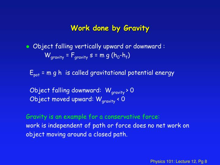 Work done by Gravity