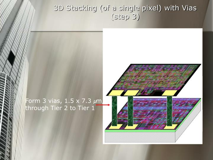 3D Stacking (of a single pixel) with Vias
