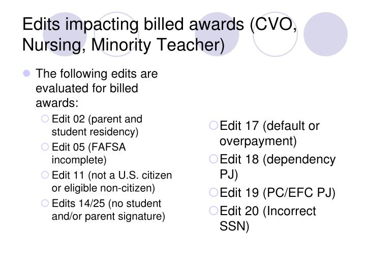 The following edits are evaluated for billed awards: