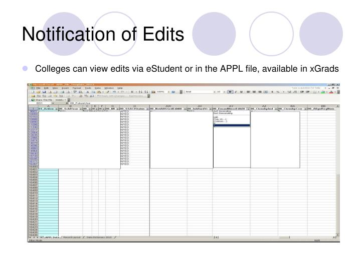 Notification of Edits