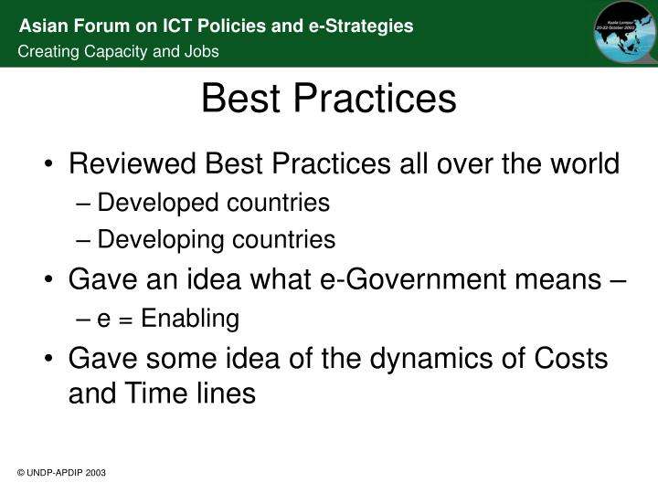 Reviewed Best Practices all over the world