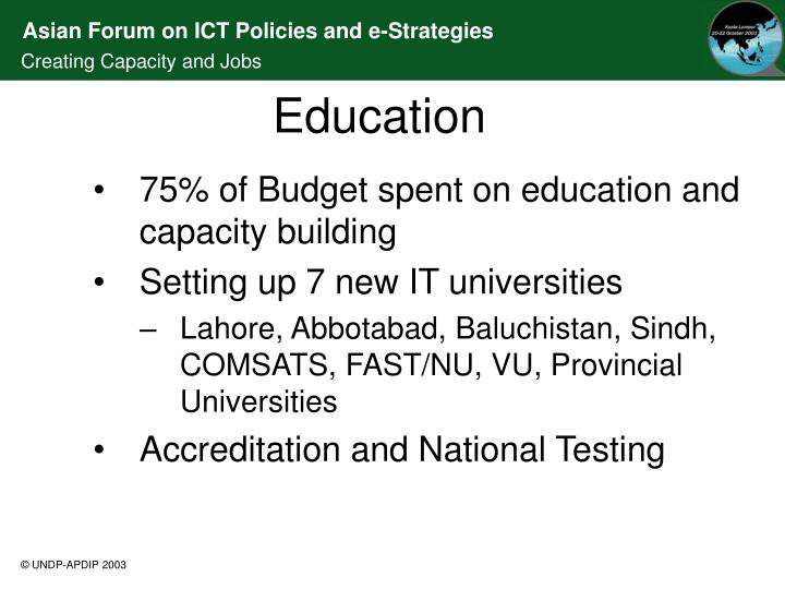 75% of Budget spent on education and capacity building