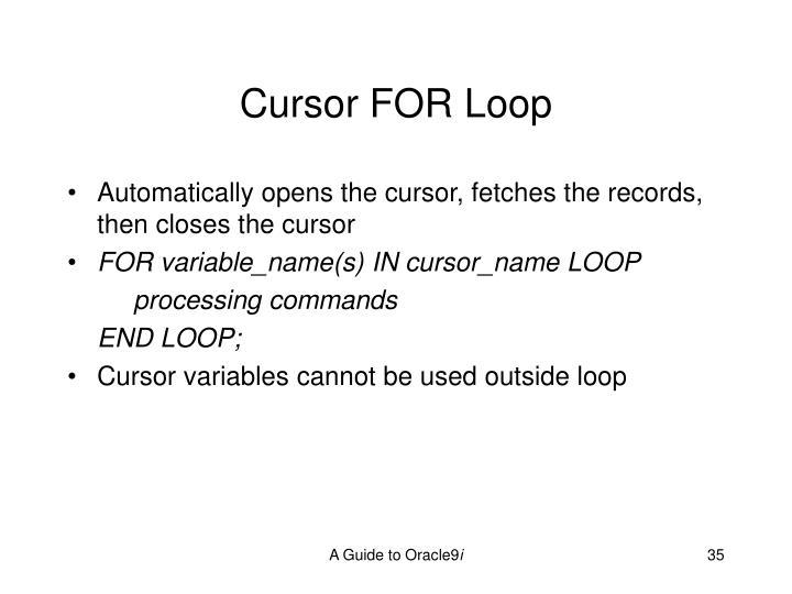 Cursor FOR Loop