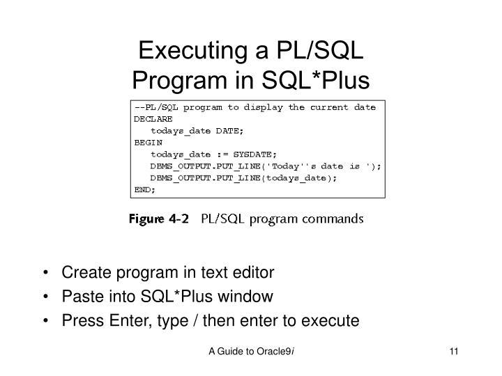 Executing a PL/SQL