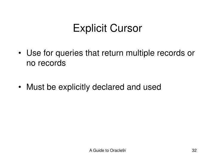 Explicit Cursor