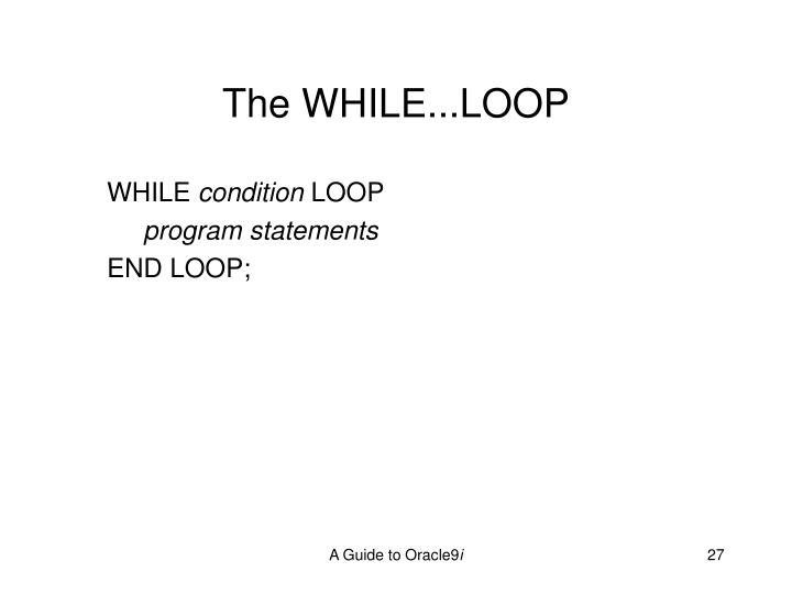 The WHILE...LOOP