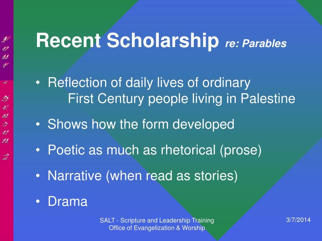 Recent Scholarship