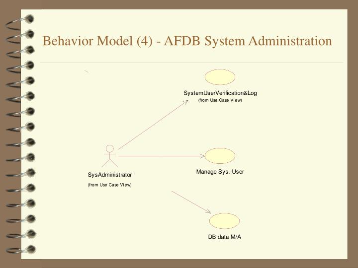 Behavior Model (4) - AFDB System Administration