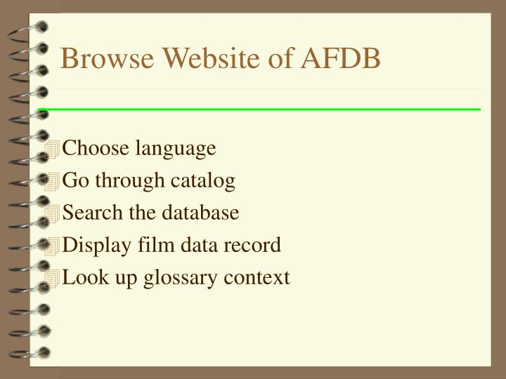 Browse Website of AFDB