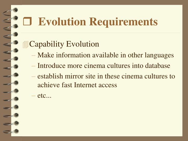 Evolution Requirements
