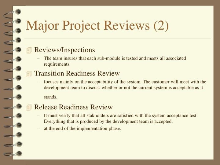 Major Project Reviews (2)