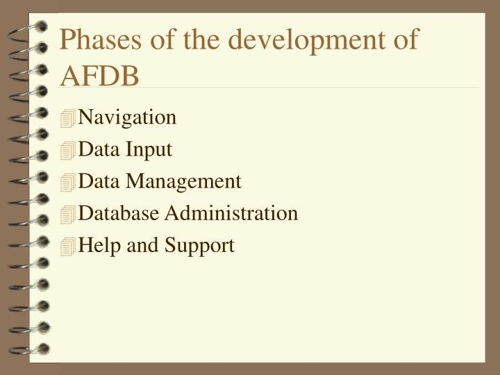 Phases of the development of AFDB