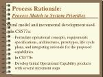 process rationale process match to system priorities