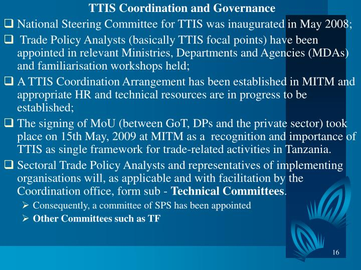 TTIS Coordination and Governance