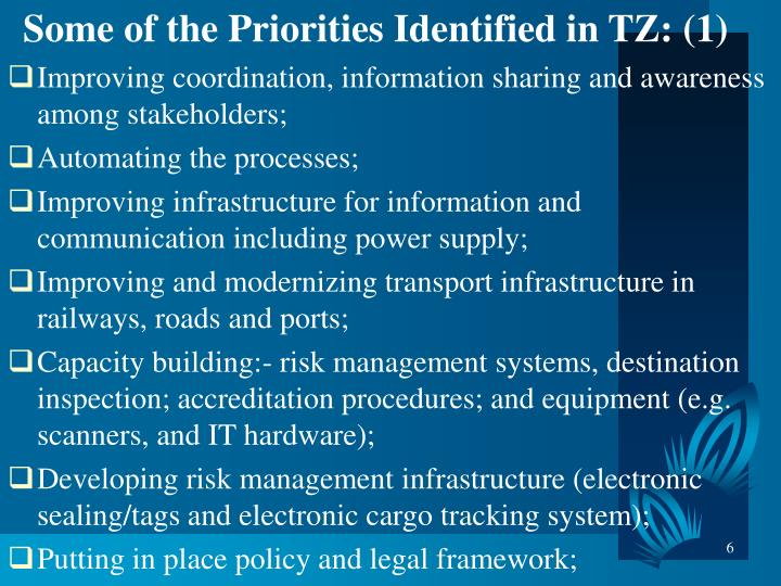 Some of the Priorities Identified in TZ: (1)