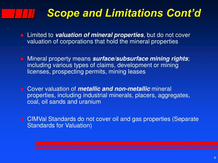 scope and limitations The question is not whether there are limitations but what are the nature of those limitations, ie, what is the actual scope and breadth of the reserach.