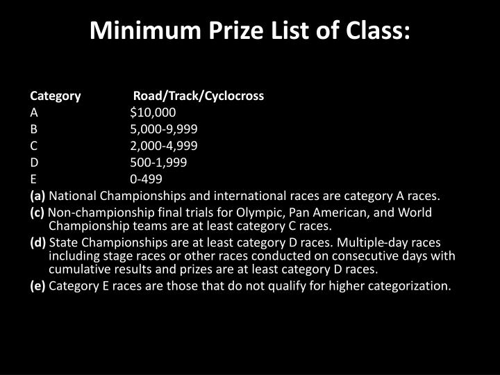 Minimum Prize List of Class:
