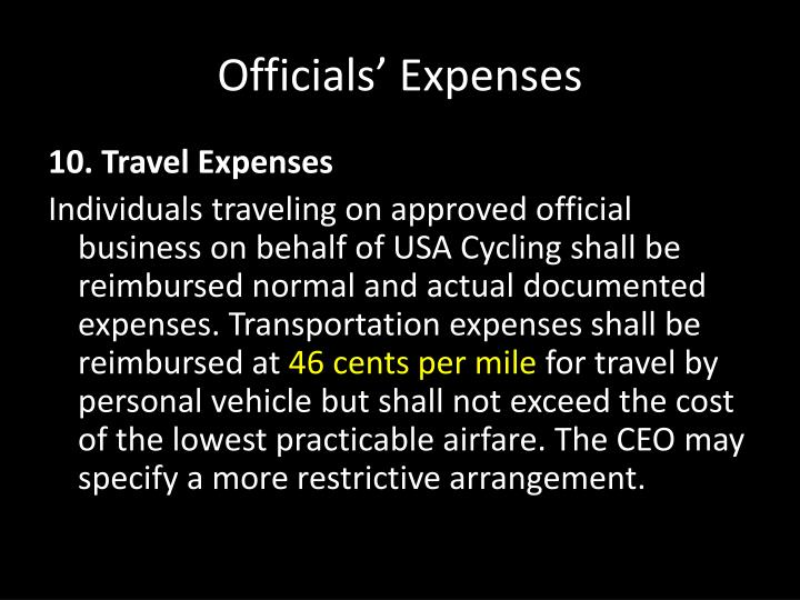 Officials' Expenses