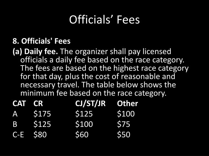 Officials' Fees