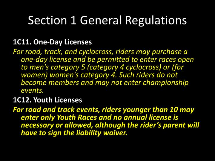 Section 1 General Regulations