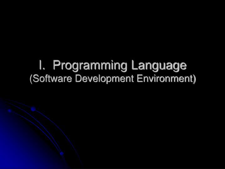 I.  Programming Language